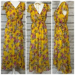 Band of Gypsies Floral Flutter Sleeve Maxi Dress